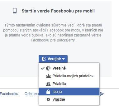 Staršie verzie Facebooku pre mobil